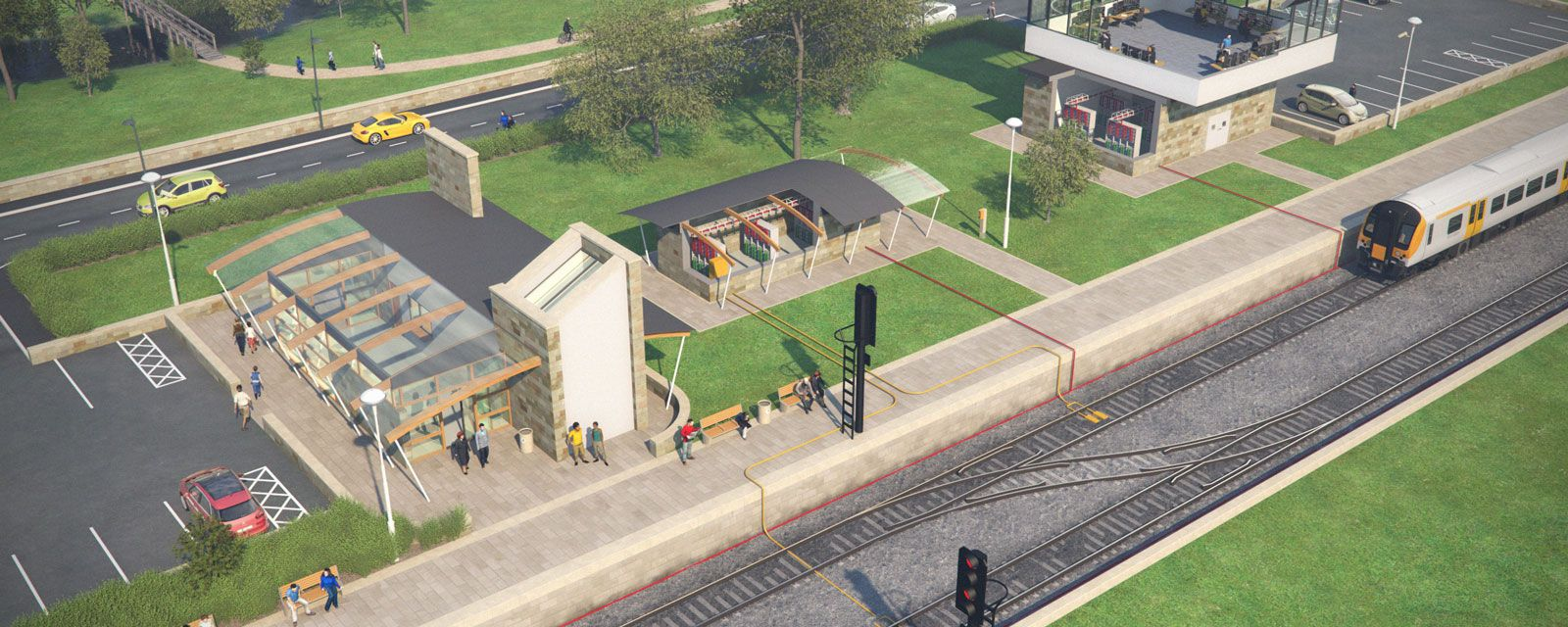 3D Train station showing power exchange