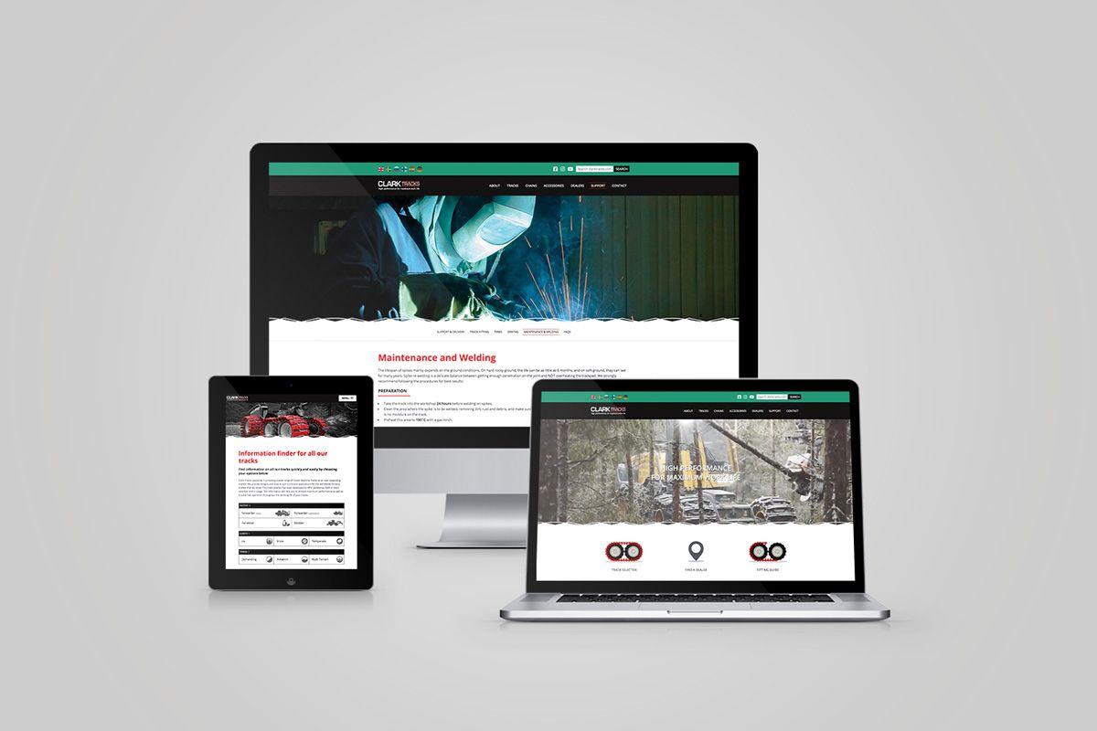 Clark Track website on different devices including Desktop, Laptop and Tablet